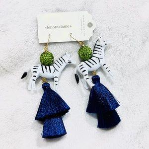Lenora Dame Zebra Silk Tassels Statement Earrings